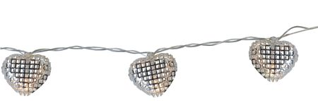 "LED ""Net Hearts"" Chain of Lights battery operated with timer 10-part – image 1"
