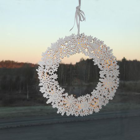 Wooden Window Wreath Snowflakes Window Lamp – image 3