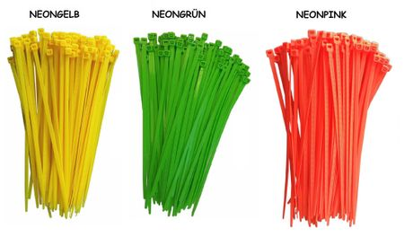 100 x Cable tie 4,8x300mms, neon colours – image 1
