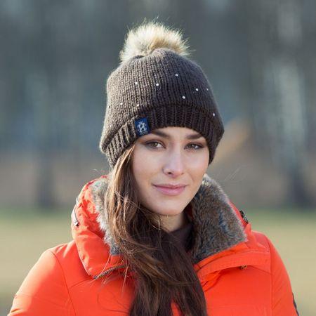 AKTION Warme Crystal Strickmütze mit Bommel für warme Ohren weiß oder braun – Bild 2