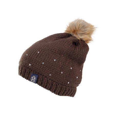 AKTION Warme Crystal Strickmütze mit Bommel für warme Ohren weiß oder braun – Bild 1