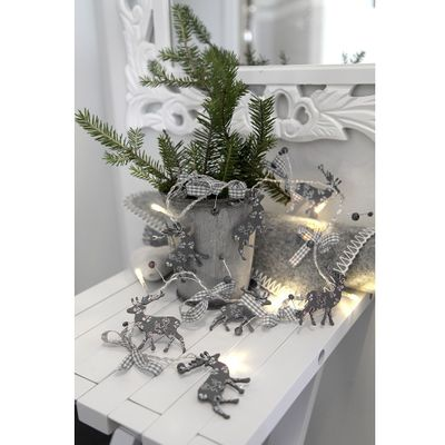 Reindeer LED Chain of Lights two-coloured 8-part battery operated with timer – image 2