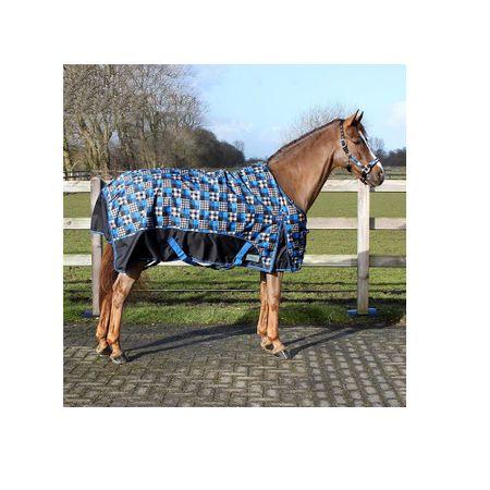 AKTION Fleece Regendecke Wasserdicht Wärmend Schwarz-Blau Kariert Größe 105-155 – Bild 2