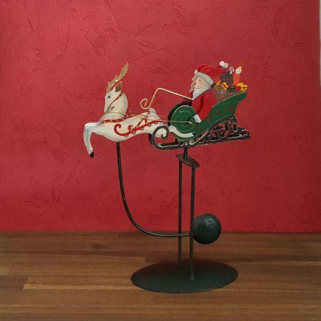 Nostalgie Deko Figur Weihnachten Metall Wippe - Nikolaus und Schlitten 28x22 cm  – Bild 2
