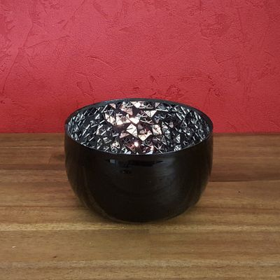 Tea Light Holder Tealight Lantern Deco Bowl 12x7cms black mirror mosaic – image 1