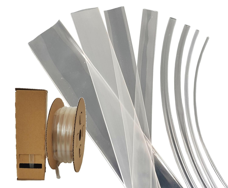 5m schrumpfschlauch in MINIBOX 24mm TRASPARENTE bec3 105 ° C schrumpfrate 3:1 2,9