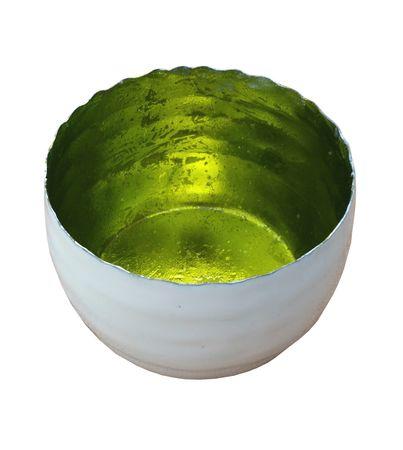 Strahlender Teelichthalter Windlicht limone, Metall außen weiß emailliert 7,5x5 cm