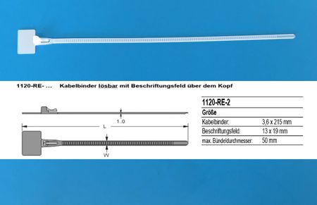 100 x Cable Marker Cable Tie 3,6x215mm with title block over the head releasable – image 2