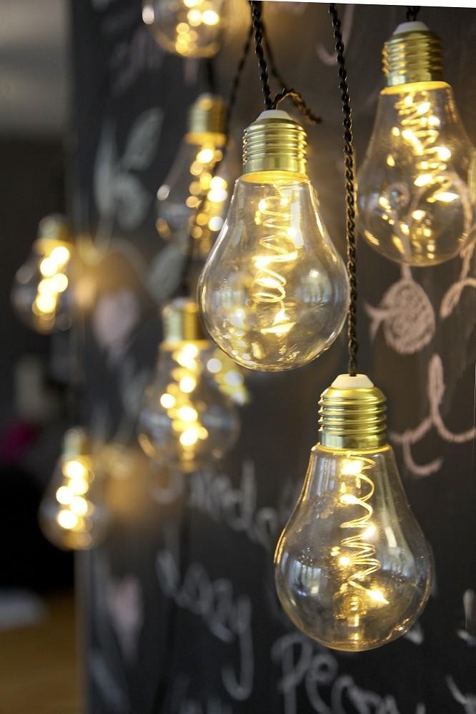 Led lichterkette gl hbirne aus glas retro design 10 tlg warm wei indoor dekoratives licht deko - Deko glas lichterkette ...