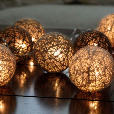 "LED Chain of Lights ""Cotton Balls"" 10 lights with plug incl. 3 meters feeding cable – image 6"