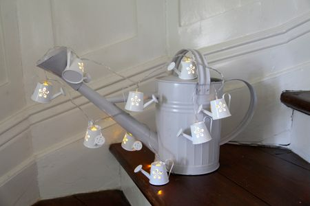 LED Battery Chain of Lights Watering Can white metal 8-part Indoor – image 3