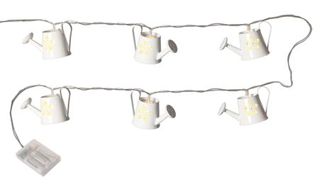 LED Battery Chain of Lights Watering Can white metal 8-part Indoor – image 1