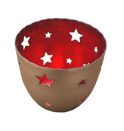 AKTION Metall Teelichthalter Windlicht gestanzte Sterne 8 x 7 cm – Bild 4