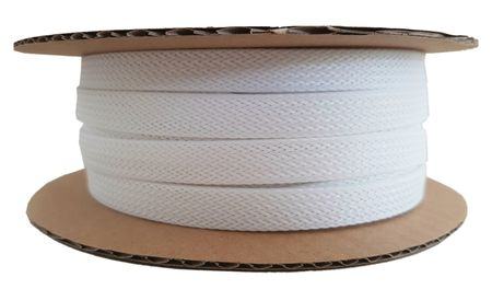Braided Expandable Sleeving 6-13 mms white, spool of 25m