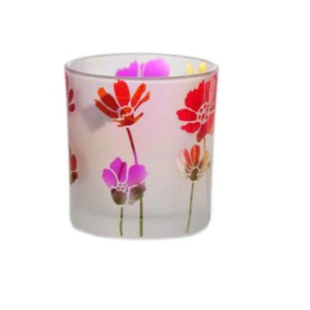 Schöner Teelichthalter Motiv Blumen, Glas Teelicht Windlicht 8x7 cm