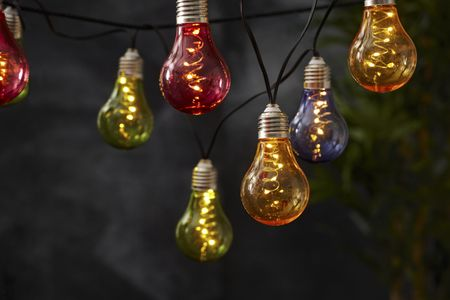 LED Solar Chain of Lights, Retro Chain of Glass Bulbs Outdoor 10 lights outdoor choose colour – image 3