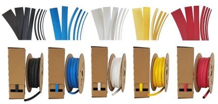 Heat-shrinkable tubing in a Minibox 9mms / Content: 8m, shrinking ratio 3:1 many colours – image 1