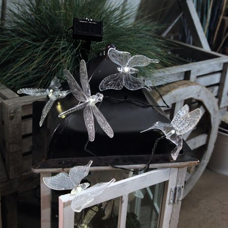 LED Solar Chain of Lights Kolibris, Butterflies and Dragonflies outdoor 6-part – image 3