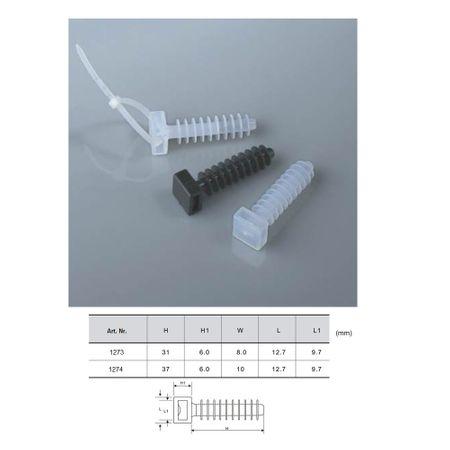 5 x Wanddübel für Kabelbinder bis 9,5mm Breite, Lochgröße/Farbe wählen – Bild 6