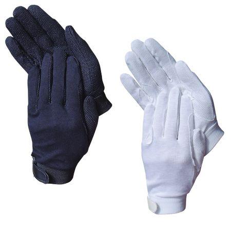 Baumwoll Reit Handschuhe mit Grip verschiedene Größen Farbe schwarz oder weiß – Bild 1