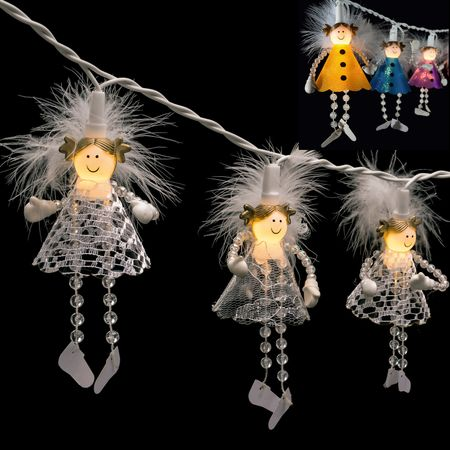 LED Chain of Lights with Ten Angels 20 lights warm white indoor – image 1