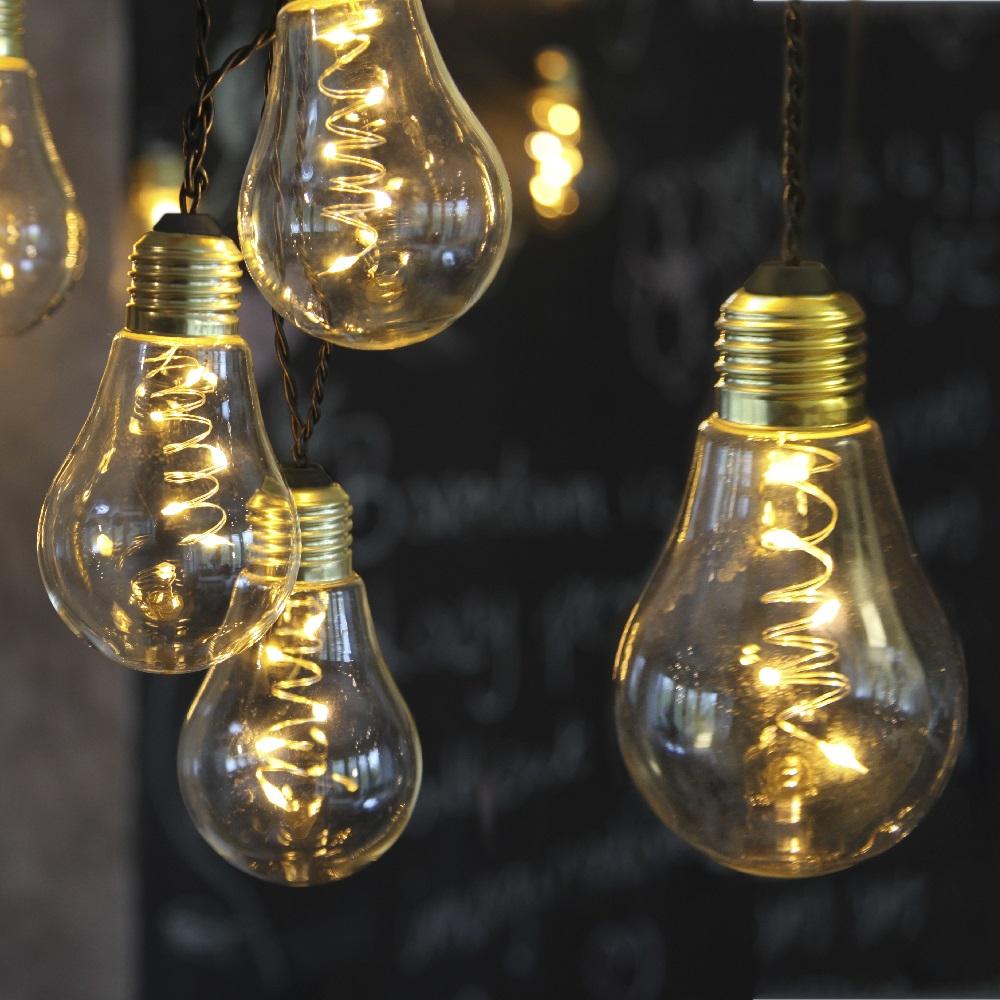 led lichterkette gl hbirne aus glas retro design 10 tlg. Black Bedroom Furniture Sets. Home Design Ideas