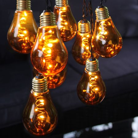 "LED Chain of lights ""Light Bulb"" glass retro design 10 lights Indoor various colours – image 9"