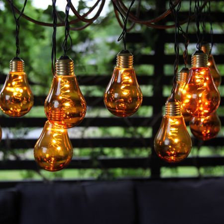 "LED Chain of lights ""Light Bulb"" glass retro design 10 lights Indoor various colours – image 10"