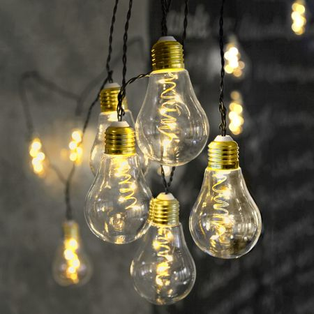 "LED Chain of lights ""Light Bulb"" glass retro design 10 lights Indoor various colours – image 5"