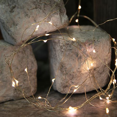 46 LED Tautropfen Draht Lichterkette auf 5 Strängen ca 80cm, Batterie, mit Timer – Bild 3