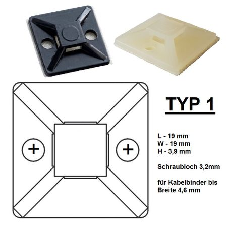 Self adhesive mount, Cable clip, Mount for flat cables self-adhesive different sizes – image 24