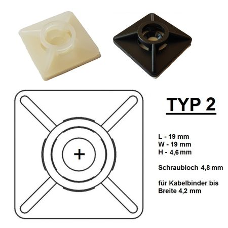 Self adhesive mount, Cable clip, Mount for flat cables self-adhesive different sizes – image 23