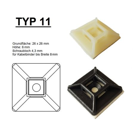 Self adhesive mount, Cable clip, Mount for flat cables self-adhesive different sizes – image 25