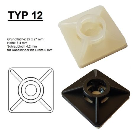 Self adhesive mount, Cable clip, Mount for flat cables self-adhesive different sizes – image 17