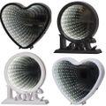 LED Batterie Mirror Spiegellicht Leuchtkreis oder Leuchtherz Dekobeleuchtung