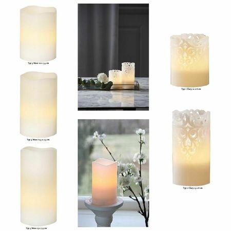 LED Echt- Wachskerze Weiß Clary Rankendesign oder Glatt Batteriebetrieb – Bild 1