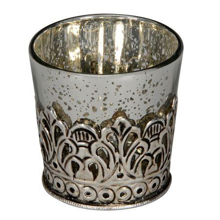 Deko Windlicht Teelichthalter Antike aus Glas mit Metallornamenten Auswahl – Bild 2