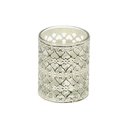Windlicht Teelichthalter aus Glas mit Metalldekor Auswahl – Bild 6
