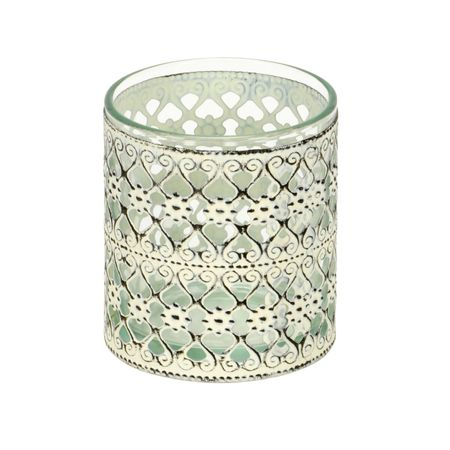 Lantern Tea-light Holder Glass with Metal Decor Choice – image 7