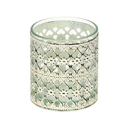 Windlicht Teelichthalter aus Glas mit Metalldekor Auswahl – Bild 7