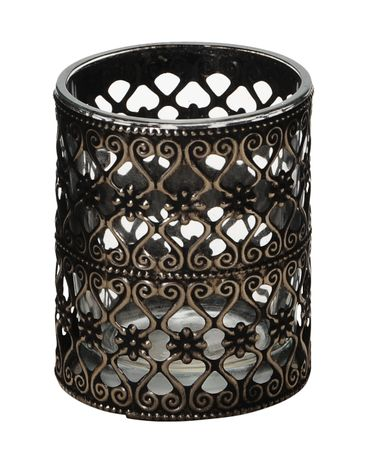 Lantern Tea-light Holder Glass with Metal Decor Choice – image 8