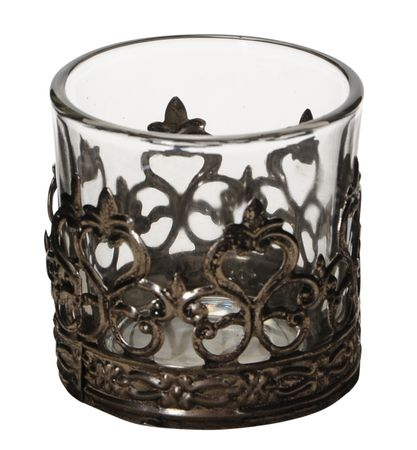 Lantern Tea-light Holder Glass with Metal Decor Choice – image 10