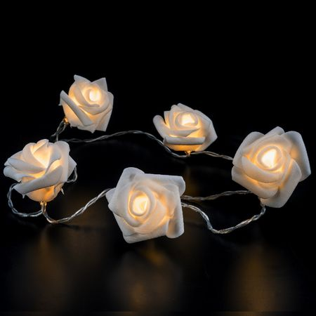 LED Battery Chain of Lights 10 white roses warm-white Indoor – image 2