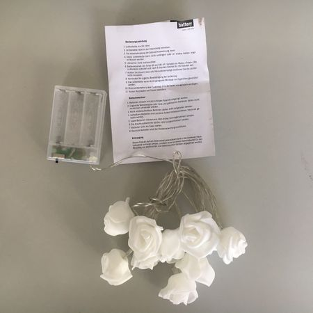 LED Battery Chain of Lights 10 white roses warm-white Indoor – image 5