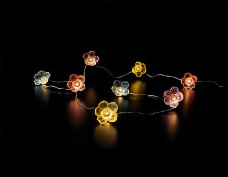 LED Battery Chain of Lights 30 multi-coloured flowers warm-white outdoor – image 2