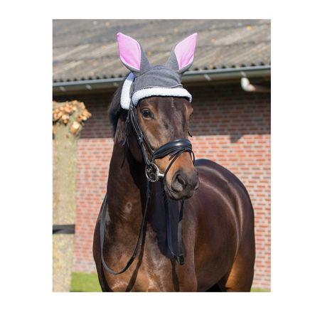 Pferde Ostern Lustiger Hut Hasenohren mit Neopren aus Fleece Grau Pony oder Full – Bild 3