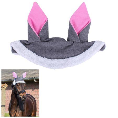 Pferdemütze mit Hasenohren Neopren aus Fleece Grau – Bild 2