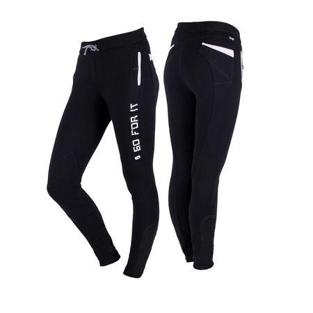 Damen Sportliche Reithose zum Schlüpfen Tights Leggings-Style mit Kniebesatz – Bild 2