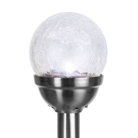 LED Solar Lamp Glass Sphere with Crash Effect (2 pieces) Outdoor – image 2