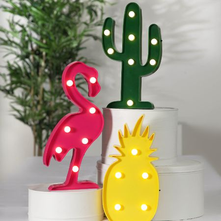 LED Batterie Figuren Standleuchten Flamingo Ananas Kaktus (3er Set) Indoor – Bild 6